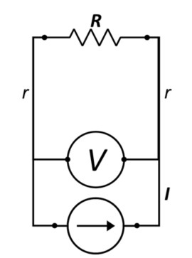 circuit showing additional resistances combined in the potential measurement