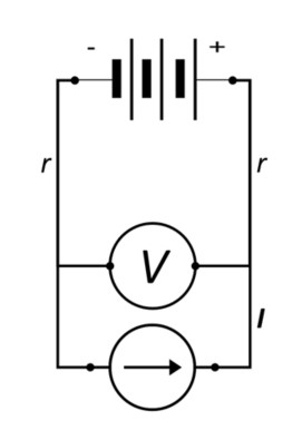 simplified battery circuit with two_point V measurement